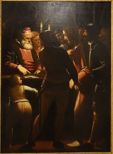Christ_before_Caiaphas_by_Luca_Cambiaso,_after_1570,_oil_on_canvas_-_Accademia_Ligustica_di_Belle_Arti_-_DSC02063