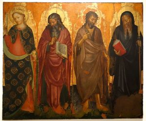 Sts._Catherine,_John_the_Evangelist,_John_the_Baptist,_and_Benedict_the_Abbot,_by_Donato_De'_Bardi,_1420-1430,_view_1,_tempera_on_wood_-_Accademia_Ligustica_di_Belle_Arti_-_DSC01984