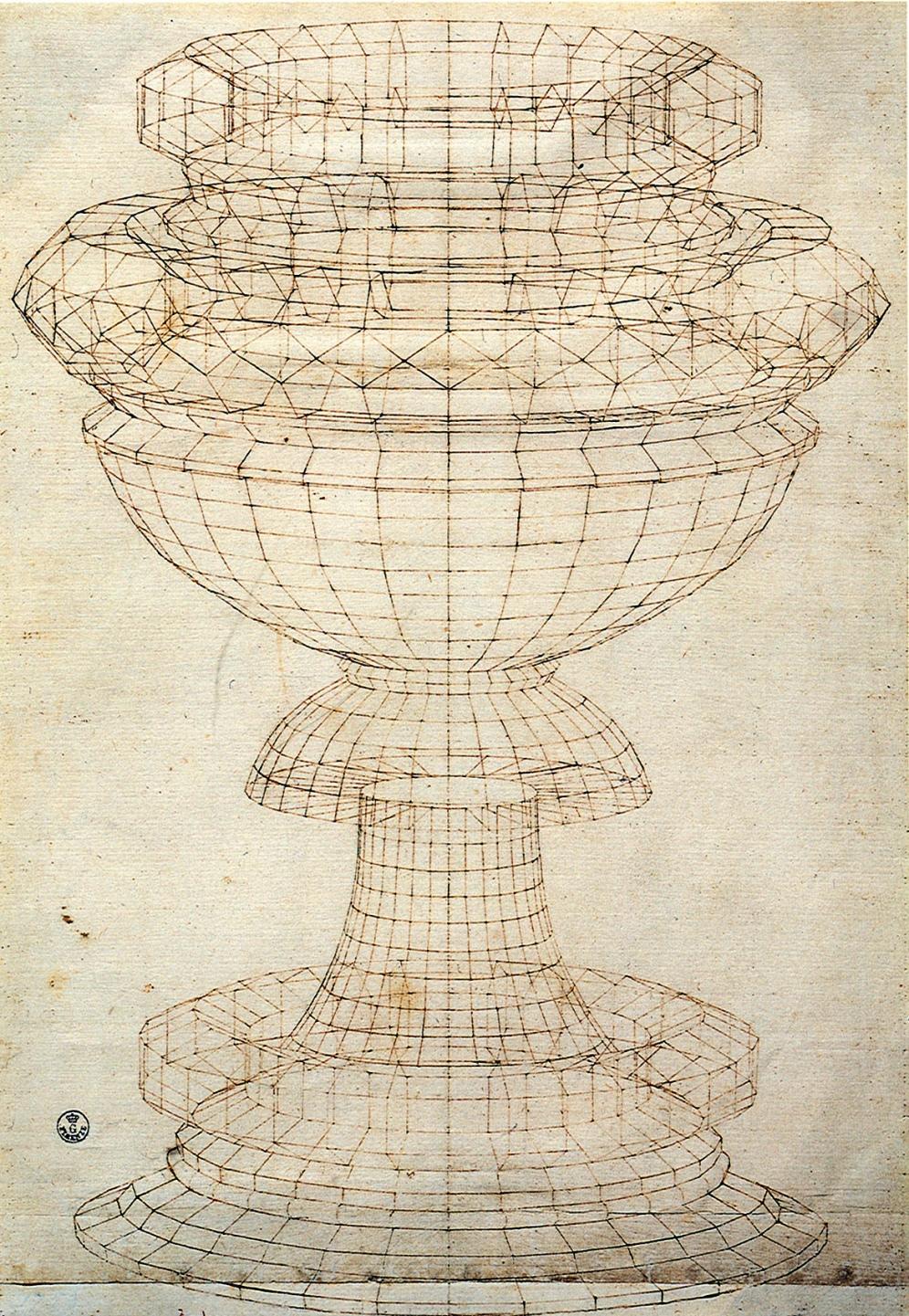 Paolo Uccello, Studio prospettico di calice (terzo quarto del XV secolo)