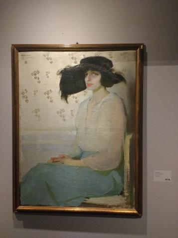 amedeo Bocchi, Ritratto di signora con cappello nero